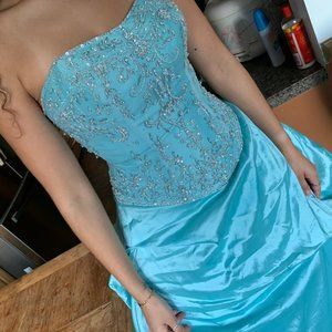 Teal Blue Hand-dyed Ball Gown